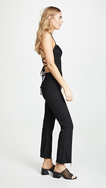MOTHER The Tie Back Hustler Ankle Fray Jumpsuit