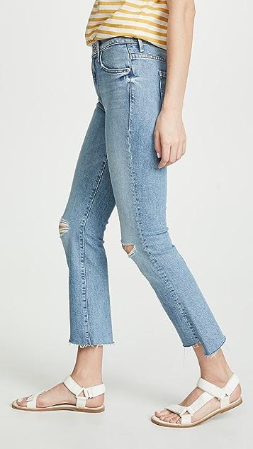 MOTHER Укороченные потрепанные джинсы Insider