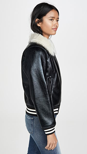 MOTHER The Faux Fur Moto Jacket