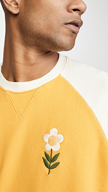 MOTHER The Champ Embroidered Flower Crew Neck Sweatshirt