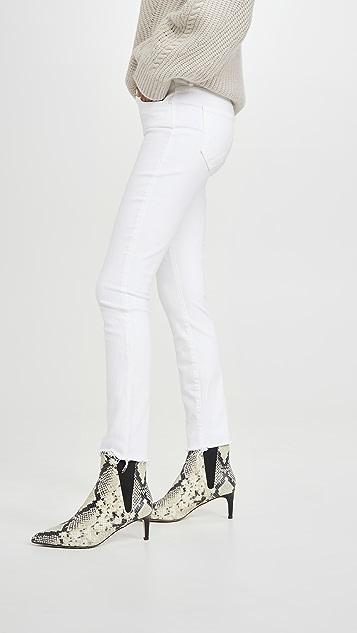 MOTHER 高腰 Looker 磨边及踝牛仔裤