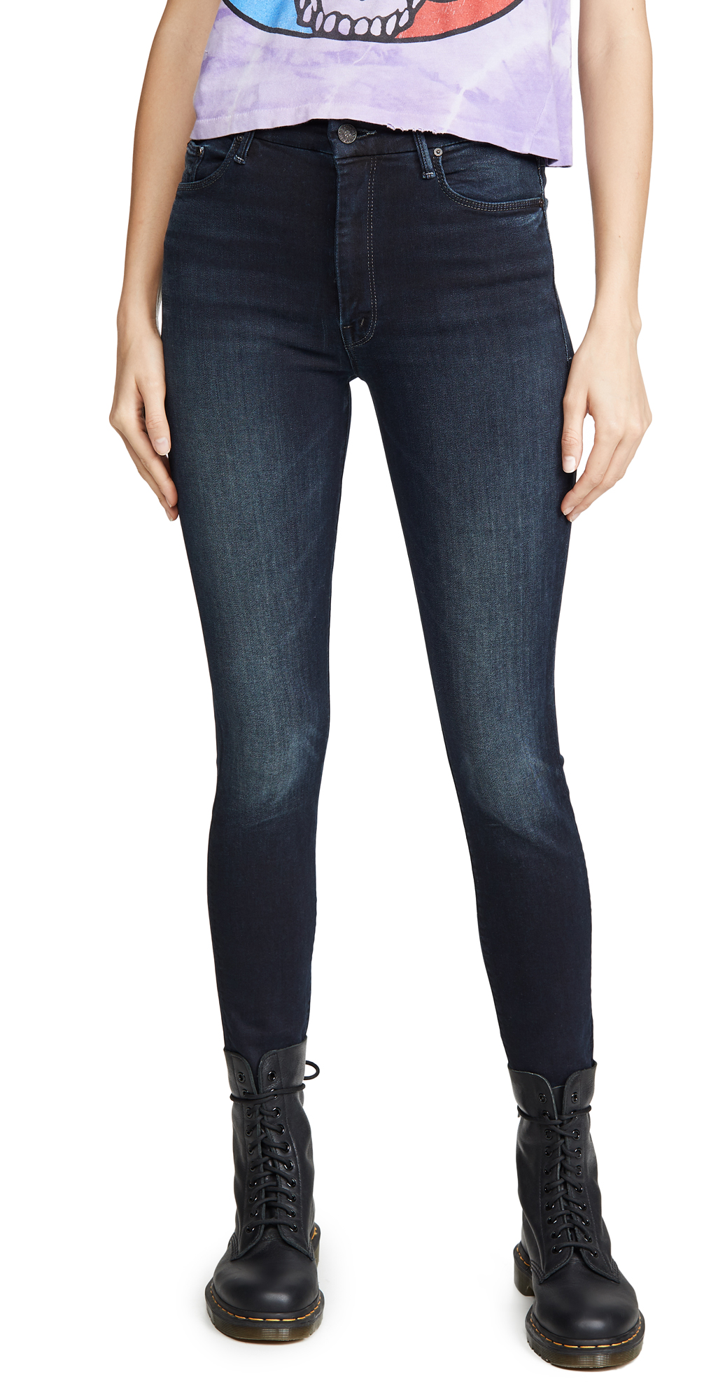 MOTHER High Waisted Looker Ankle Fray Jeans