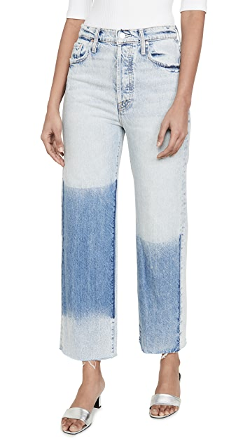 Frayed Hem Patch Jeans