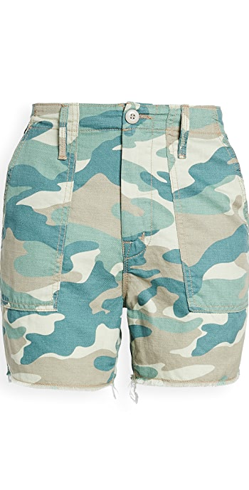 MOTHER The Shaker Chop Shorts - Blue Green Camo
