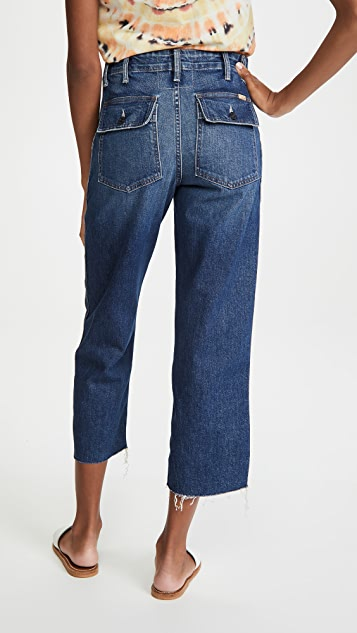MOTHER Patch Pocket Zip Ankle Fray Jeans