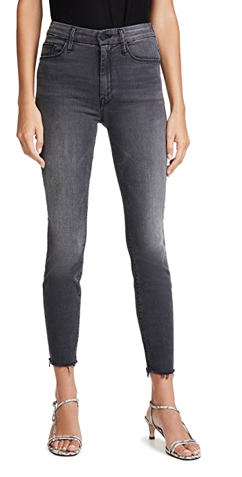 MOTHER High Waisted Looker Ankle Fray Jeans - Lighting Up Lanterns