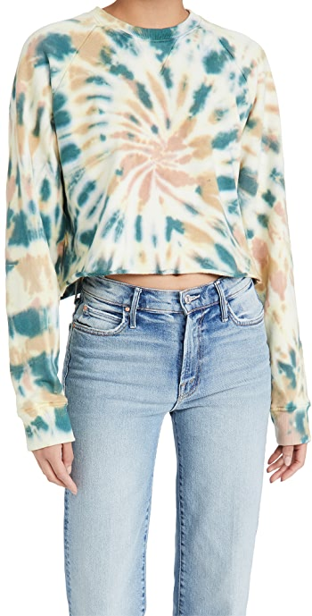 MOTHER The Loafer Crop Fray Sweatshirt - Delusional