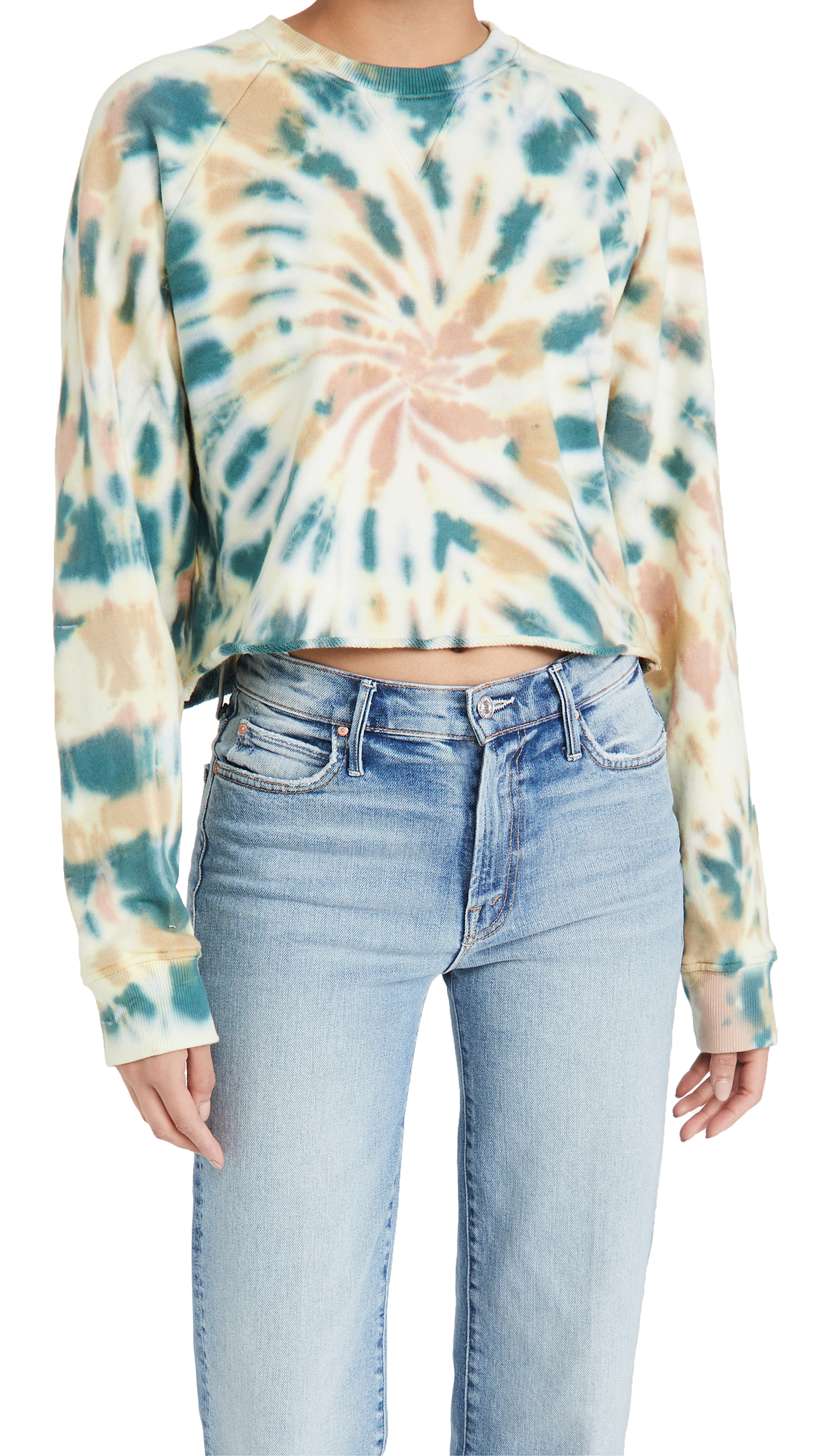 MOTHER The Loafer Crop Fray Sweatshirt