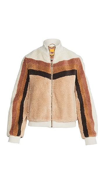 MOTHER Striped Letterman Zip Jacket