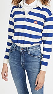 MOTHER The Boxy Polo Crop Tee
