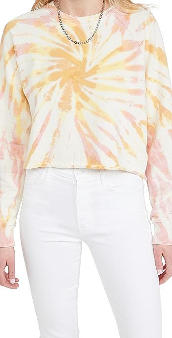 MOTHER The Loafer Crop Sweatshirt - Dnl Coral Haze/Lemon Delusiona