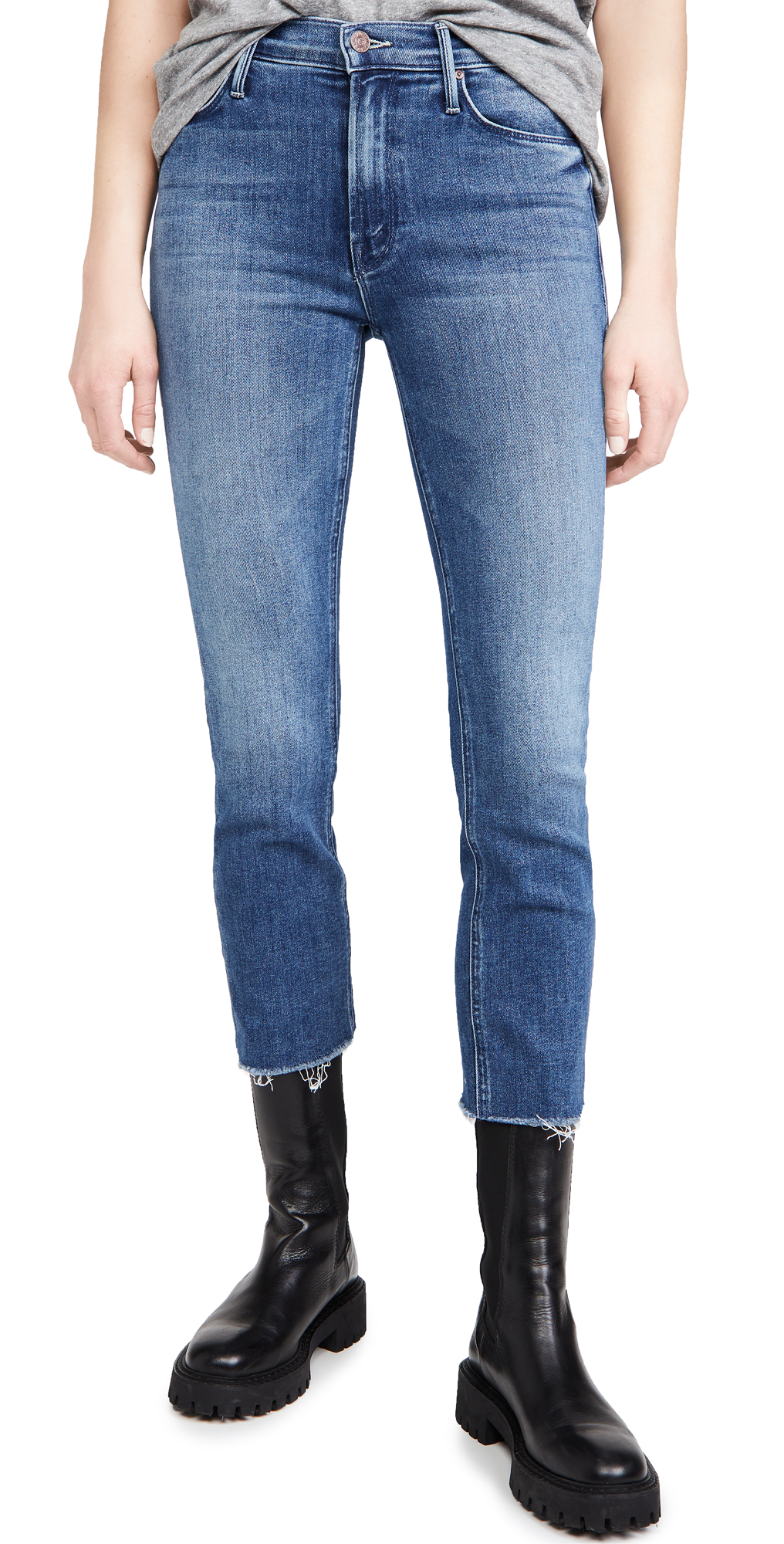 MOTHER Mid Rise Dazzler Crop Fray Jeans