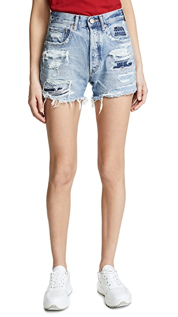 MOUSSY VINTAGE MV Jones Patched Hand Repair Shorts