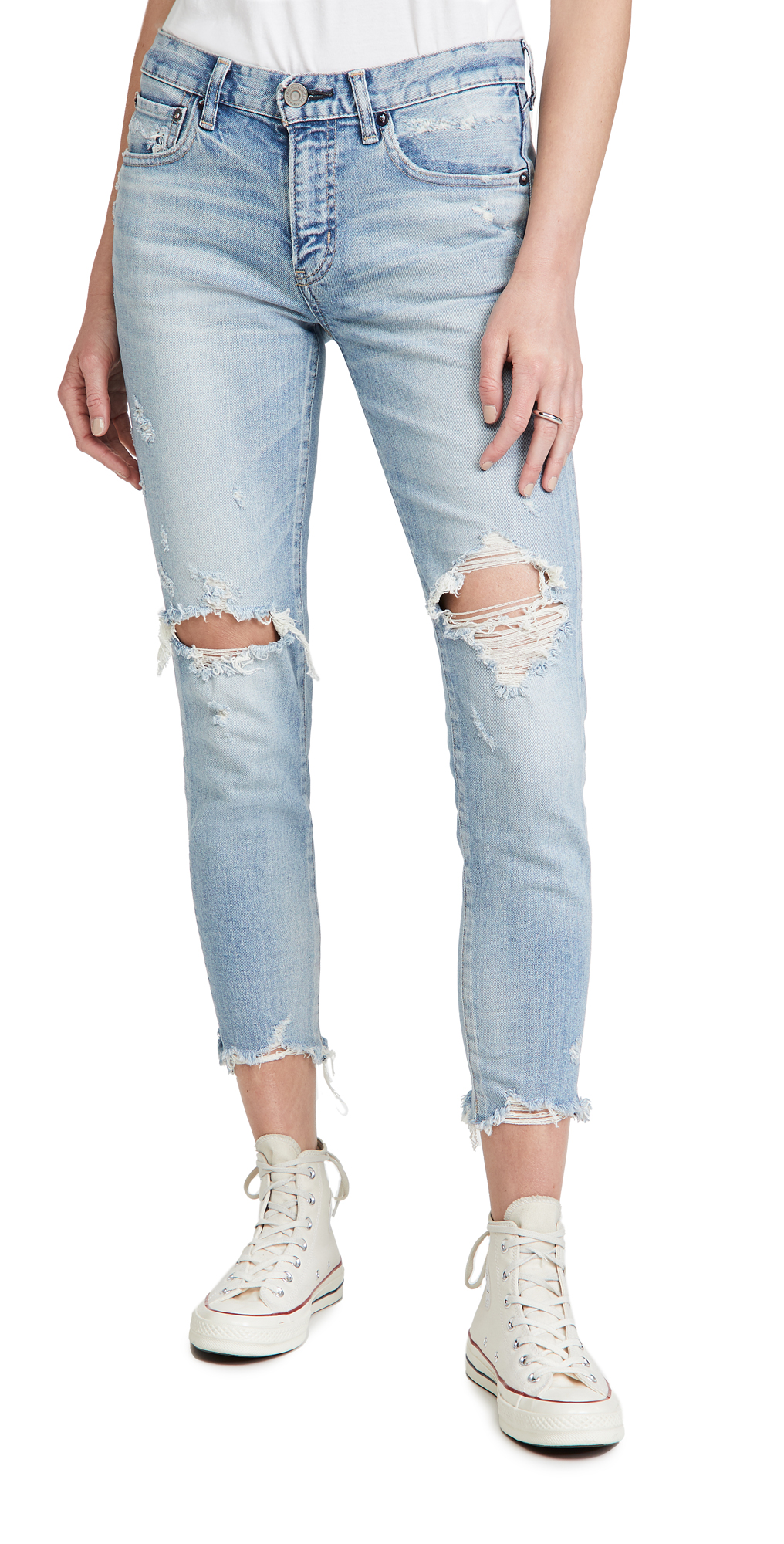 Moussy Vintage Women's Altawoods Distressed Skinny Jeans In L/blu
