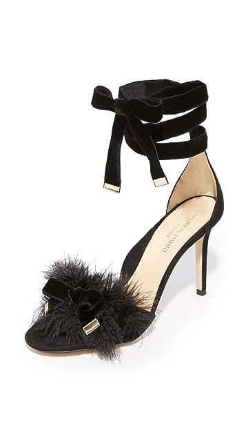 Marion Parke Lainey Feather Sandals - Black