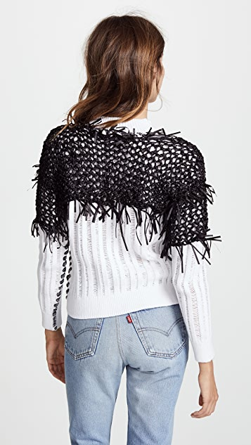 M.PATMOS Star Finch Fringed Crew Sweater