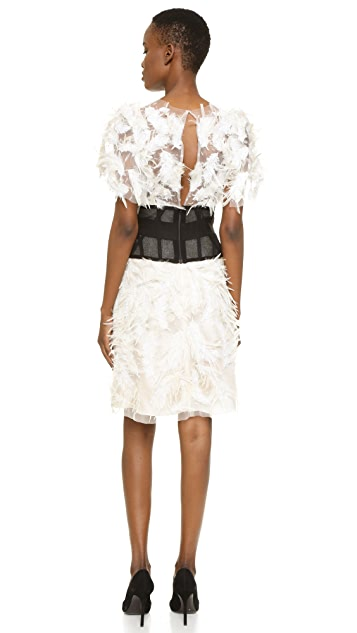 Marchesa Tulle Cocktail Dress with Feathers