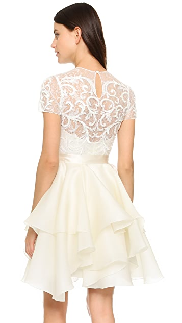 Marchesa Embroidered Lace Cocktail Dress
