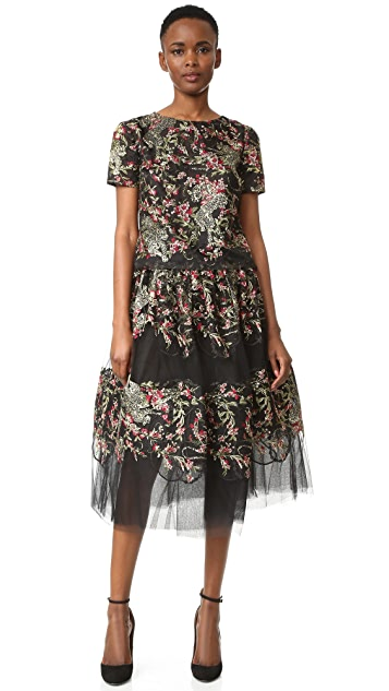 Marchesa Floral Leaf Blouse