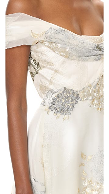 Marchesa Off Shoulder A-Line Gown