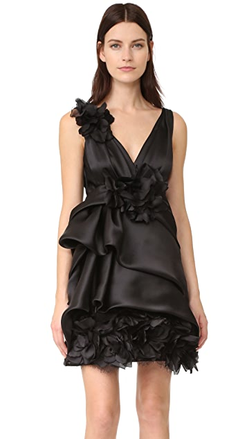 Marchesa Satin Organza Cocktail Dress