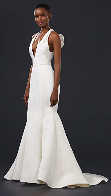 Marchesa Silk Faille Gown