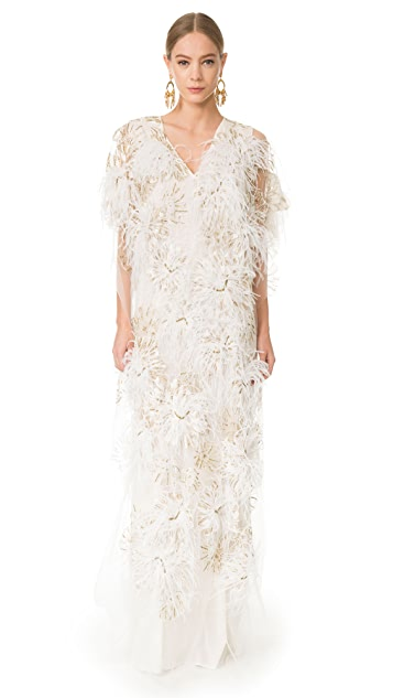 Marchesa Long Caftan with Feathers