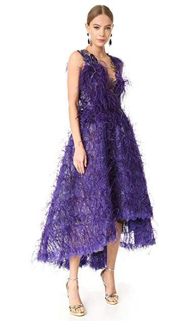 Marchesa Feather Gown