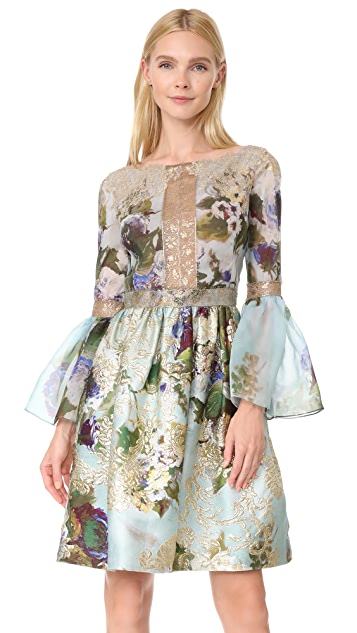 Marchesa Floral Dress with Flutter Sleeves