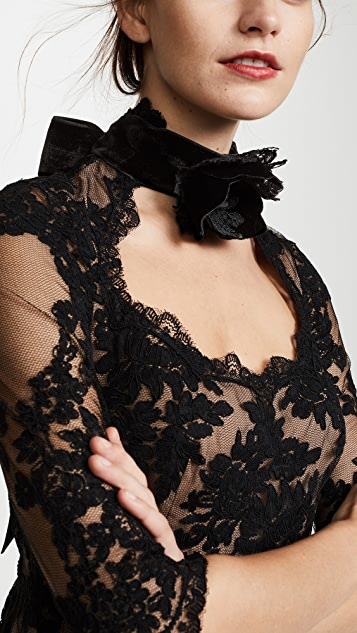 Marchesa Chorded Lace Top