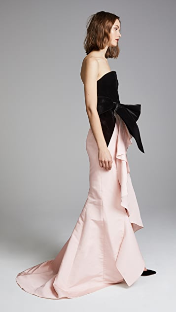Marchesa Strapless Silk Gown