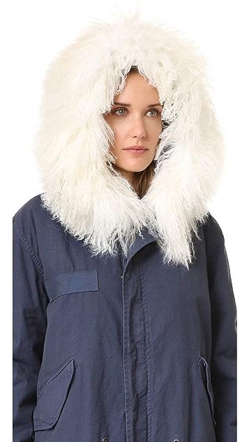 Mr & Mrs Italy Темно-синее пальто с меховой отделкой