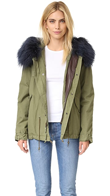 Mr & Mrs Italy Army Shell Coat with Fur Trim