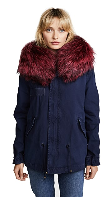 Mr & Mrs Italy Mini Parka with Rose Fur Collar