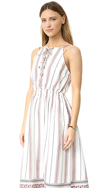 Moon River Border Print Lace Up Dress