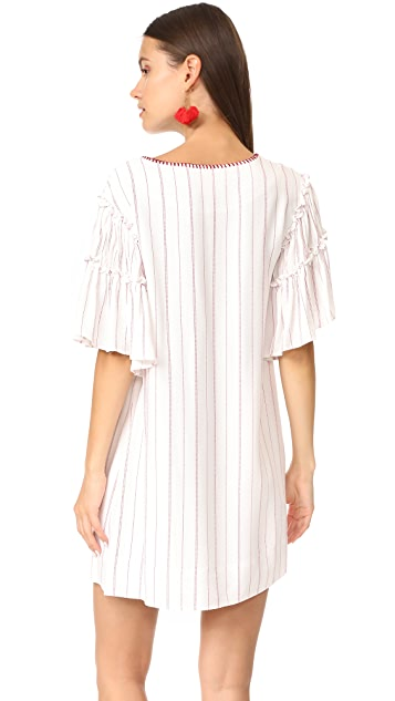 Moon River Embroidered Neck Dress