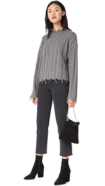 Moon River Fringed Cable Sweater