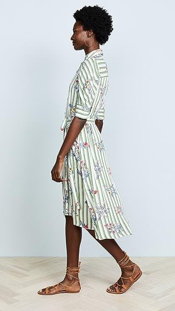 Moon River Floral Stripe Shirt Dress