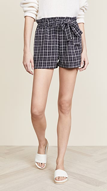 Moon River Plaid Tie Shorts