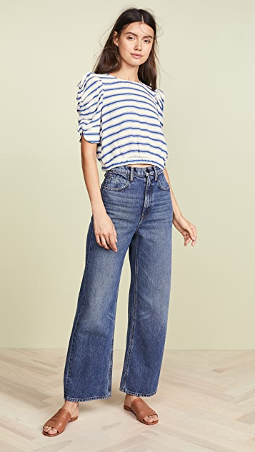 Moon River Striped Pouf Sleeve Top