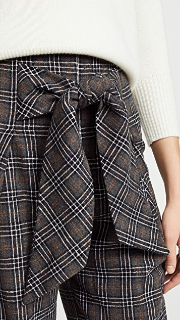 Moon River Plaid Tie Front Trousers