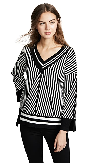 Moon River Striped V Neck Sweater