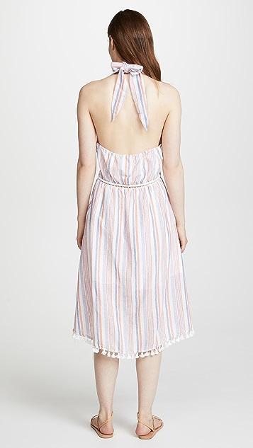 Moon River Striped Halter Dress