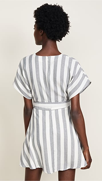 Moon River Striped Wrap Dress