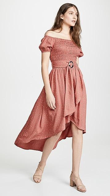 Moon River Rust Dot Midi Dress