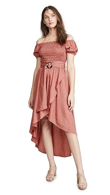 Moon River 锈橙圆点中长连衣裙