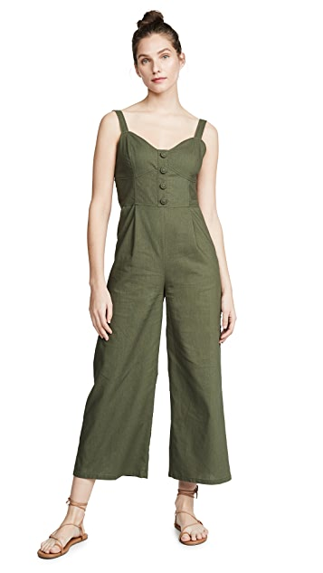 Moon River Hunter Green Jumpsuit