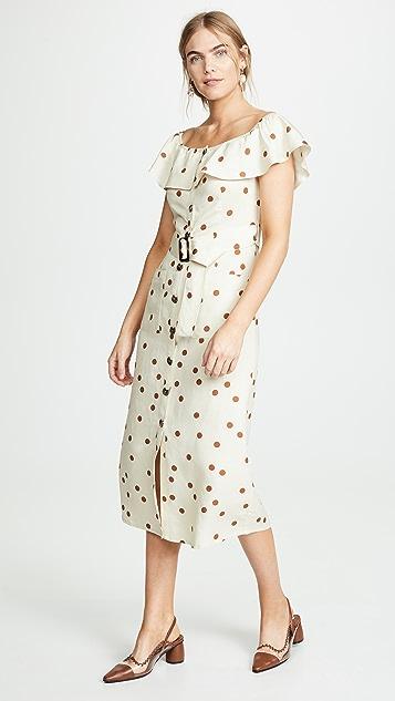Moon River Polka Dot Midi Dress