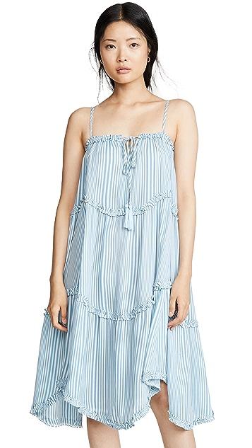 Moon River Sky Blue Stripe Dress