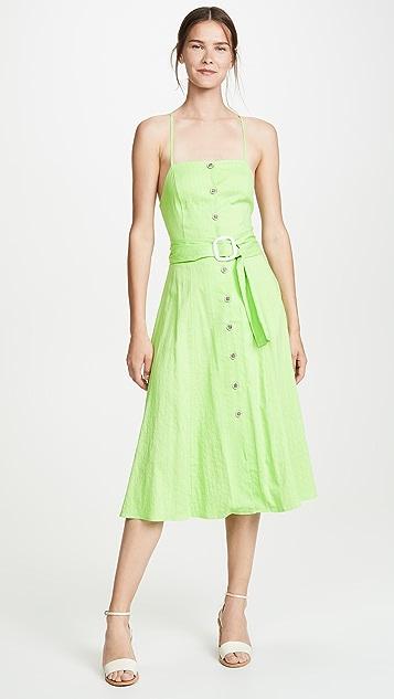 Moon River 黄绿色细条纹连衣裙